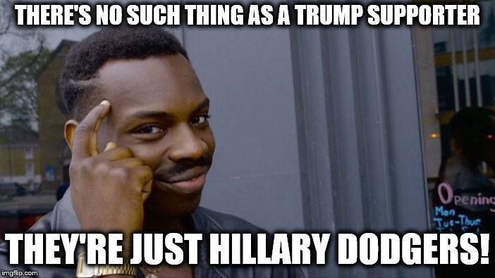 Roll Safe Think About It | THERE'S NO SUCH THING AS A TRUMP SUPPORTER THEY'RE JUST HILLARY DODGERS! | image tagged in memes,roll safe think about it,trump supporter,hillary dodgers | made w/ Imgflip meme maker