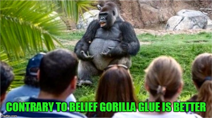Gorilla Glue | CONTRARY TO BELIEF GORILLA GLUE IS BETTER | image tagged in gorilla glue | made w/ Imgflip meme maker