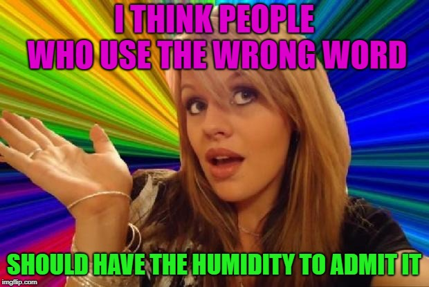 The Swerve of some people | I THINK PEOPLE WHO USE THE WRONG WORD SHOULD HAVE THE HUMIDITY TO ADMIT IT | image tagged in stupid girl meme,memes,funny,words | made w/ Imgflip meme maker
