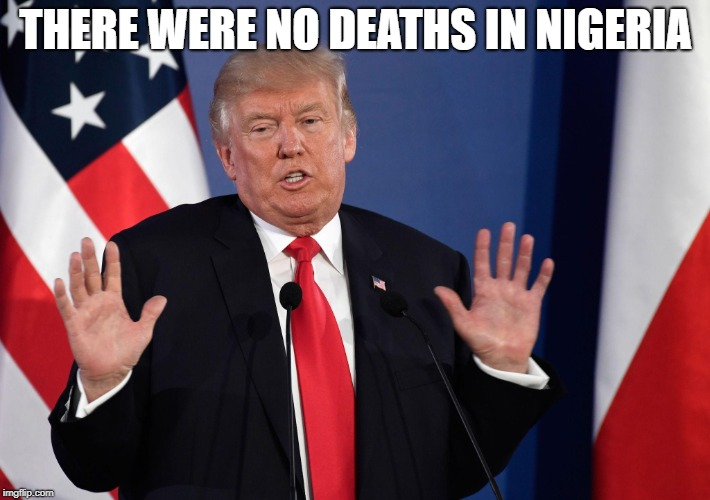 Trump Not Me | THERE WERE NO DEATHS IN NIGERIA | image tagged in trump not me | made w/ Imgflip meme maker