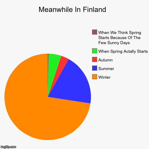 Meanwhile In Finland  | Winter , Summer , Autumn , When Spring Actally Starts, When We Think Spring Starts Because Of The Few Sunny Days | image tagged in funny,pie charts | made w/ Imgflip pie chart maker