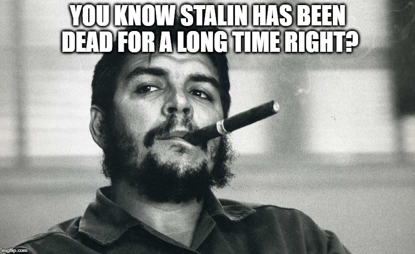 Che | YOU KNOW STALIN HAS BEEN DEAD FOR A LONG TIME RIGHT? | image tagged in che | made w/ Imgflip meme maker