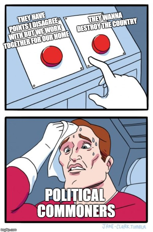 Two Buttons Meme | THEY HAVE POINTS I DISAGREE WITH BUT WE WORK TOGETHER FOR OUR HOME THEY WANNA DESTROY THE COUNTRY POLITICAL COMMONERS | image tagged in memes,two buttons | made w/ Imgflip meme maker
