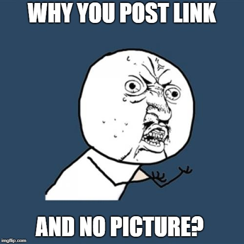 Y U No Meme | WHY YOU POST LINK AND NO PICTURE? | image tagged in memes,y u no | made w/ Imgflip meme maker