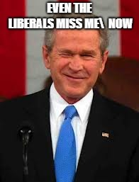 George Bush Meme | EVEN THE LIBERALS MISS ME  NOW | image tagged in memes,george bush | made w/ Imgflip meme maker