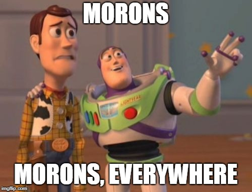 X, X Everywhere Meme | MORONS MORONS, EVERYWHERE | image tagged in memes,x x everywhere | made w/ Imgflip meme maker