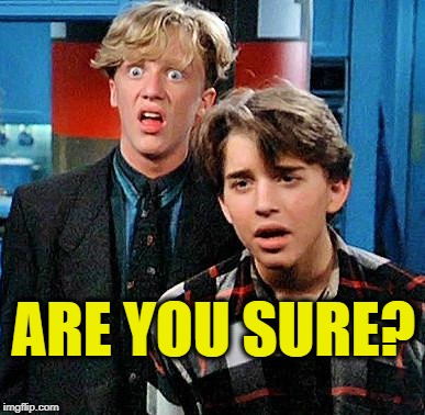weird science my face when | ARE YOU SURE? | image tagged in weird science my face when | made w/ Imgflip meme maker