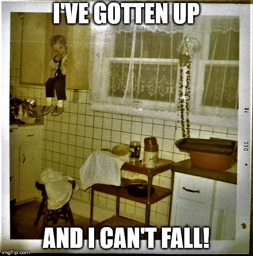 shelved toddler | I'VE GOTTEN UP AND I CAN'T FALL! | image tagged in shelved toddler | made w/ Imgflip meme maker