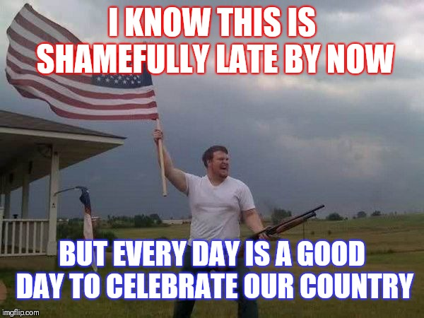 Belated Seventeenth anniversary of 9/11. Eternally grateful for the countless souls lost on this infamous day.  | I KNOW THIS IS SHAMEFULLY LATE BY NOW BUT EVERY DAY IS A GOOD DAY TO CELEBRATE OUR COUNTRY | image tagged in american flag shotgun guy | made w/ Imgflip meme maker