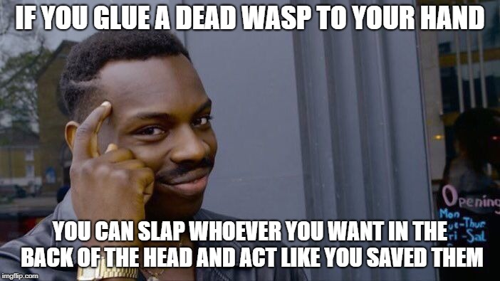 Roll Safe Think About It Meme | IF YOU GLUE A DEAD WASP TO YOUR HAND YOU CAN SLAP WHOEVER YOU WANT IN THE BACK OF THE HEAD AND ACT LIKE YOU SAVED THEM | image tagged in memes,roll safe think about it | made w/ Imgflip meme maker