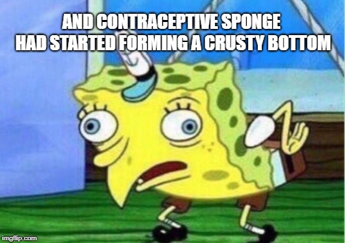 Mocking Spongebob Meme | AND CONTRACEPTIVE SPONGE HAD STARTED FORMING A CRUSTY BOTTOM | image tagged in memes,mocking spongebob | made w/ Imgflip meme maker