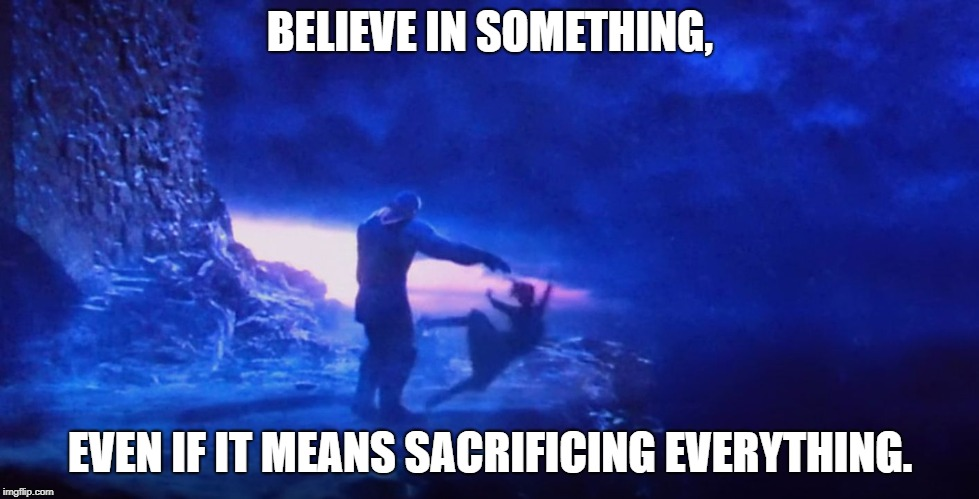 What did it cost? | BELIEVE IN SOMETHING, EVEN IF IT MEANS SACRIFICING EVERYTHING. | image tagged in thanos and gamora,memes,colin kaepernick,avengers,infinity war,sacrifice | made w/ Imgflip meme maker