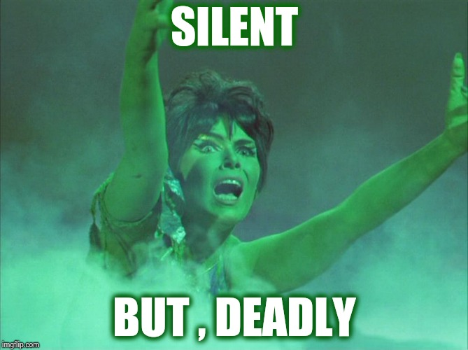 Yvonne Craig was smoking | SILENT BUT , DEADLY | image tagged in yvonne craig was smoking | made w/ Imgflip meme maker