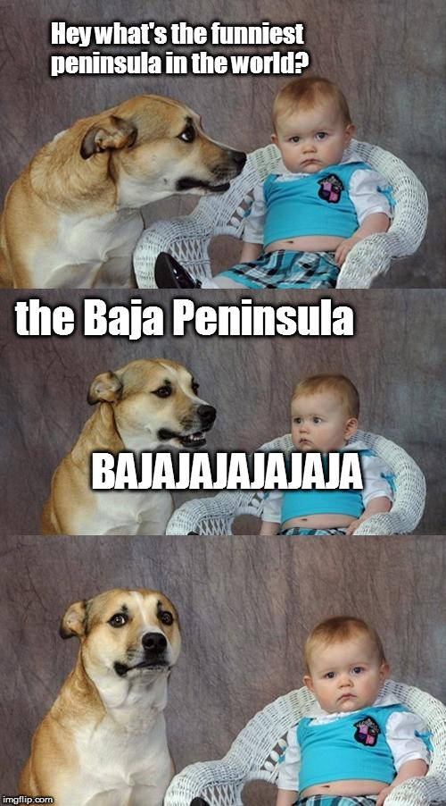 bajajajajajaja | Hey what's the funniest peninsula in the world? the Baja Peninsula BAJAJAJAJAJAJA | image tagged in memes,dad joke dog,crazy hispanic man,mexico,mexican word,mexicans | made w/ Imgflip meme maker
