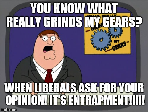 Peter Griffin News Meme | YOU KNOW WHAT REALLY GRINDS MY GEARS? WHEN LIBERALS ASK FOR YOUR OPINION! IT'S ENTRAPMENT!!!!! | image tagged in memes,peter griffin news | made w/ Imgflip meme maker