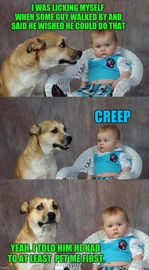 Whose A Good Boy? | I WAS LICKING MYSELF WHEN SOME GUY WALKED BY AND SAID HE WISHED HE COULD DO THAT CREEP YEAH. I TOLD HIM HE HAD TO AT LEAST  PET ME FIRST. | image tagged in memes,dad joke dog | made w/ Imgflip meme maker