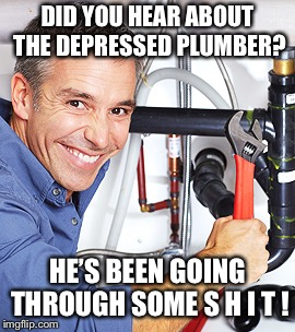 Did you hear about... | DID YOU HEAR ABOUT THE DEPRESSED PLUMBER? HE'S BEEN GOING THROUGH SOME S H I T ! | image tagged in depressed,plumber | made w/ Imgflip meme maker