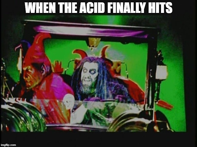 WHEN THE ACID FINALLY HITS | image tagged in rob zombie,acid,high,cocaine is a hell of a drug,drugs,drugs are bad | made w/ Imgflip meme maker