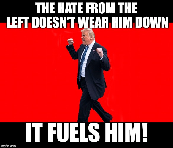 The constant assault on him only makes him stronger. | THE HATE FROM THE LEFT DOESN'T WEAR HIM DOWN IT FUELS HIM! | image tagged in maga | made w/ Imgflip meme maker