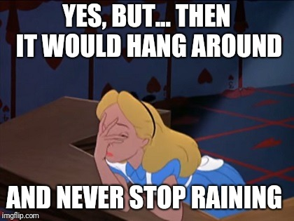 Unfortunate Alice | YES, BUT... THEN IT WOULD HANG AROUND AND NEVER STOP RAINING | image tagged in unfortunate alice | made w/ Imgflip meme maker