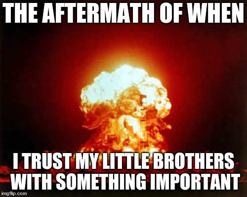 Nuclear Explosion Meme | THE AFTERMATH OF WHEN I TRUST MY LITTLE BROTHERS WITH SOMETHING IMPORTANT | image tagged in memes,nuclear explosion | made w/ Imgflip meme maker