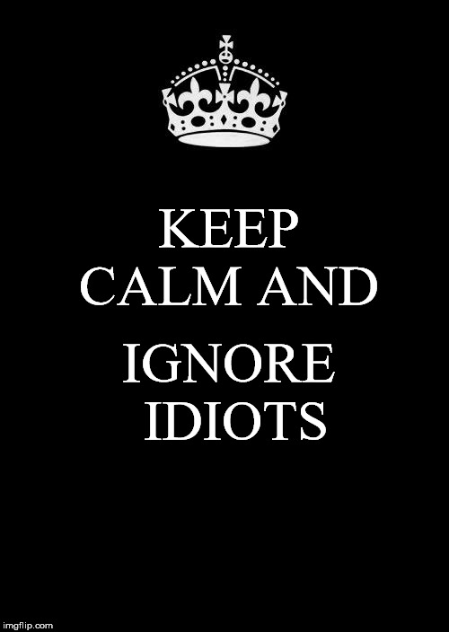 Keep Calm And Carry On Black Meme | KEEP CALM AND IGNORE IDIOTS | image tagged in memes,keep calm and carry on black | made w/ Imgflip meme maker