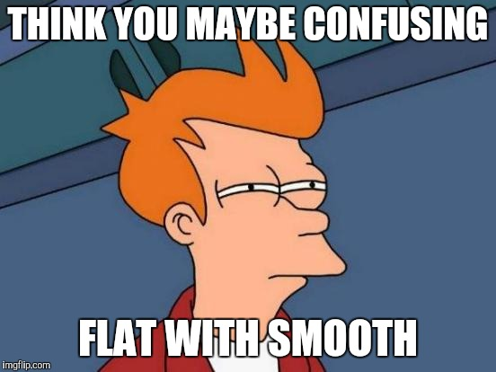 Futurama Fry Meme | THINK YOU MAYBE CONFUSING FLAT WITH SMOOTH | image tagged in memes,futurama fry | made w/ Imgflip meme maker