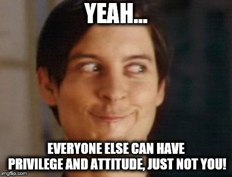 Spiderman Peter Parker Meme | YEAH... EVERYONE ELSE CAN HAVE PRIVILEGE AND ATTITUDE, JUST NOT YOU! | image tagged in memes,spiderman peter parker | made w/ Imgflip meme maker