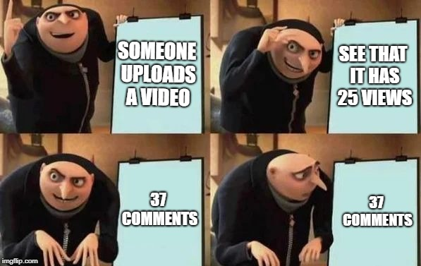 Gru's Plan | SOMEONE UPLOADS A VIDEO SEE THAT IT HAS 25 VIEWS 37 COMMENTS 37 COMMENTS | image tagged in gru's plan | made w/ Imgflip meme maker