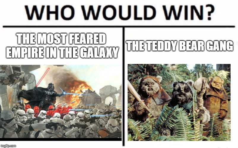 Who Would Win? | THE MOST FEARED EMPIRE IN THE GALAXY THE TEDDY BEAR GANG | image tagged in memes,who would win,ewok,star wars,return of the jedi | made w/ Imgflip meme maker