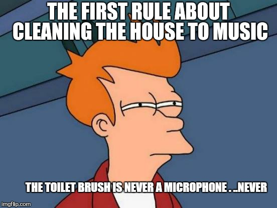 Mop on. ..test 1  2 | THE FIRST RULE ABOUT CLEANING THE HOUSE TO MUSIC THE TOILET BRUSH IS NEVER A MICROPHONE . ..NEVER | image tagged in memes,futurama fry,cleaning,good advice mallard,funny | made w/ Imgflip meme maker
