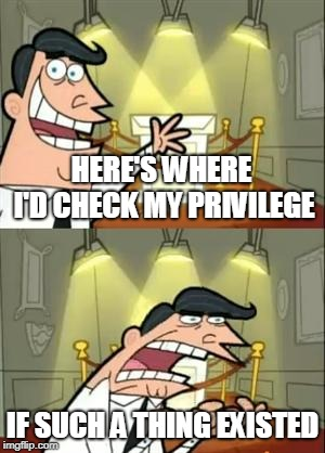 This Is Where I'd Put My Trophy If I Had One Meme | HERE'S WHERE I'D CHECK MY PRIVILEGE IF SUCH A THING EXISTED | image tagged in memes,this is where i'd put my trophy if i had one | made w/ Imgflip meme maker