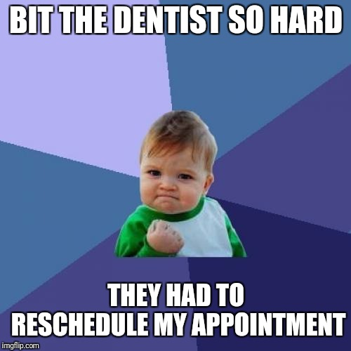 Success Kid Meme | BIT THE DENTIST SO HARD THEY HAD TO RESCHEDULE MY APPOINTMENT | image tagged in memes,success kid | made w/ Imgflip meme maker