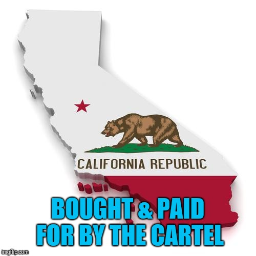California | BOUGHT & PAID FOR BY THE CARTEL | image tagged in california | made w/ Imgflip meme maker