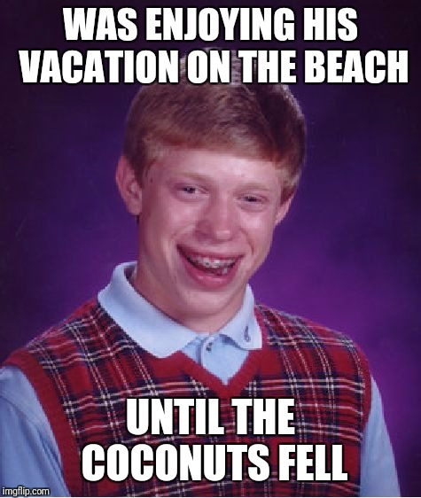 Bad luck brian | WAS ENJOYING HIS VACATION ON THE BEACH UNTIL THE COCONUTS FELL | image tagged in memes,bad luck brian,vacation,beach,funny | made w/ Imgflip meme maker