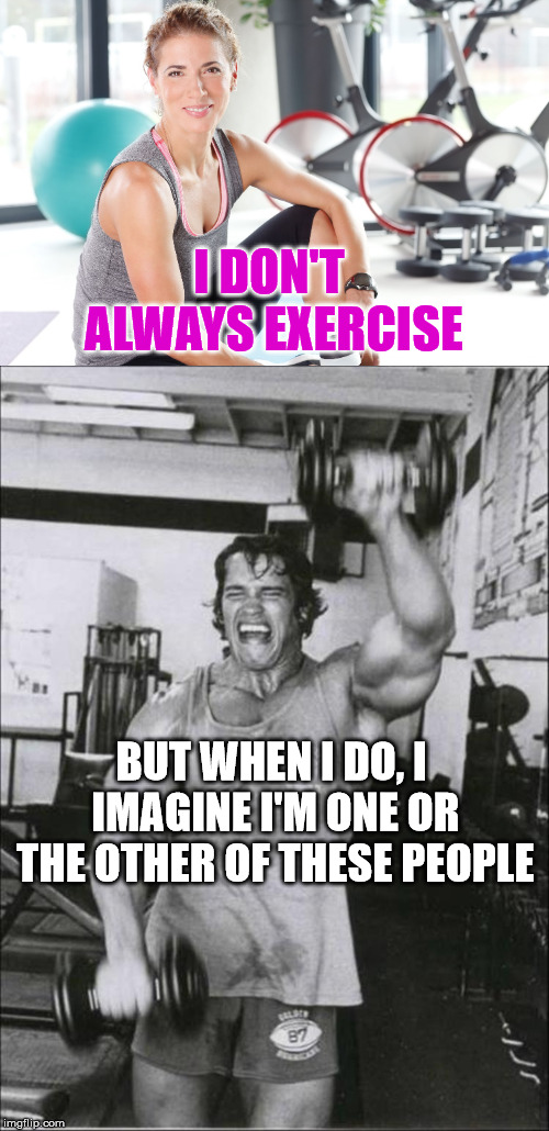 Get fit or get out! | I DON'T ALWAYS EXERCISE BUT WHEN I DO, I IMAGINE I'M ONE OR THE OTHER OF THESE PEOPLE | image tagged in exercise,arnold schwarzenegger | made w/ Imgflip meme maker
