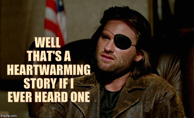 Snake Plissken asks,,, | WELL THAT'S A HEARTWARMING STORY IF I EVER HEARD ONE | image tagged in snake plissken asks   | made w/ Imgflip meme maker