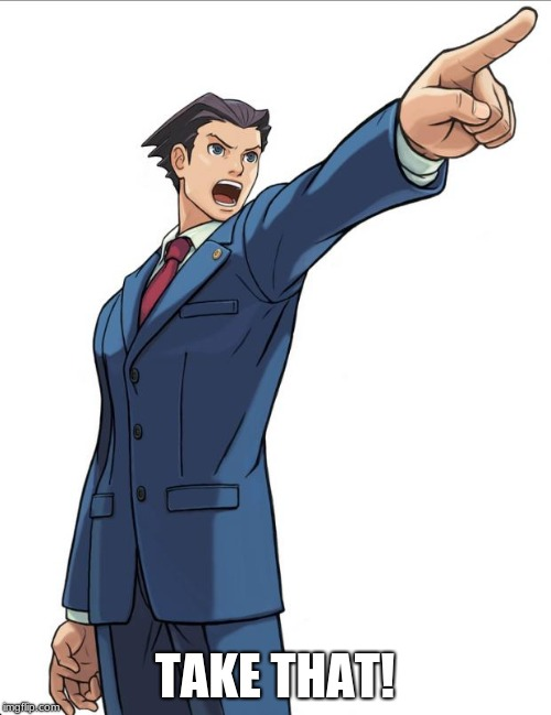 Ace Attorney | TAKE THAT! | image tagged in ace attorney | made w/ Imgflip meme maker