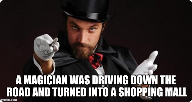 Poof! | A MAGICIAN WAS DRIVING DOWN THE ROAD AND TURNED INTO A SHOPPING MALL | image tagged in household magician,magic,memes,ilikepie314159265358979 | made w/ Imgflip meme maker