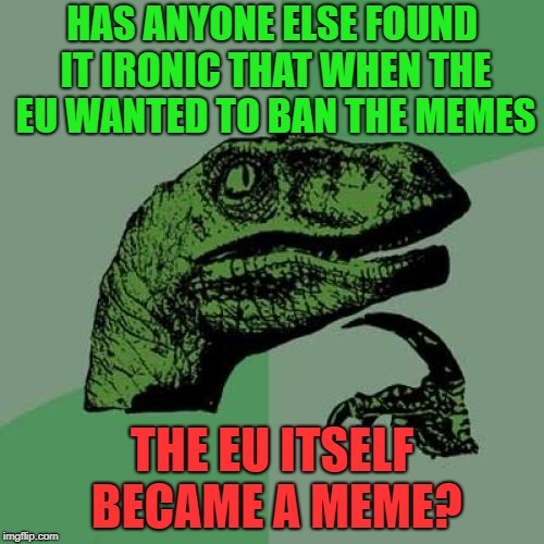#savethememes | HAS ANYONE ELSE FOUND IT IRONIC THAT WHEN THE EU WANTED TO BAN THE MEMES THE EU ITSELF BECAME A MEME? | image tagged in memes,philosoraptor,eu | made w/ Imgflip meme maker
