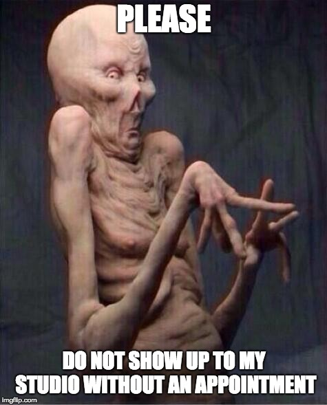 alien | PLEASE DO NOT SHOW UP TO MY STUDIO WITHOUT AN APPOINTMENT | image tagged in alien | made w/ Imgflip meme maker