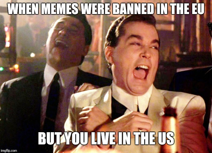 Good Fellas Hilarious Meme | WHEN MEMES WERE BANNED IN THE EU BUT YOU LIVE IN THE US | image tagged in memes,good fellas hilarious | made w/ Imgflip meme maker