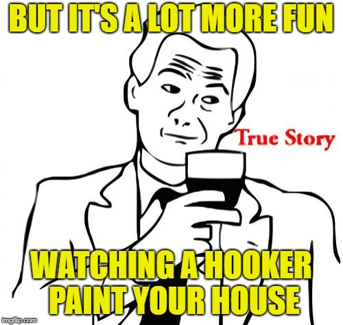 True Story Meme | BUT IT'S A LOT MORE FUN WATCHING A HOOKER PAINT YOUR HOUSE | image tagged in memes,true story | made w/ Imgflip meme maker