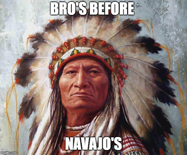 BRO'S BEFORE NAVAJO'S | image tagged in bro,native american,hoes,memes | made w/ Imgflip meme maker