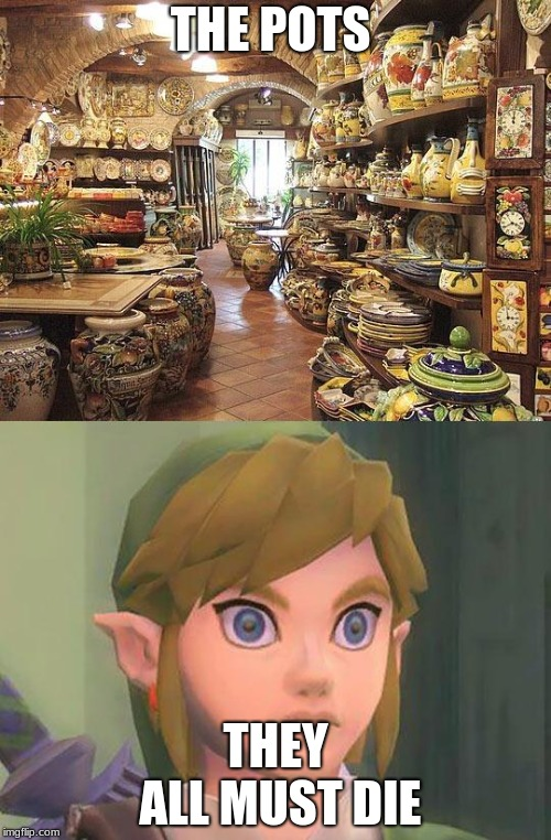 zelda | THE POTS THEY ALL MUST DIE | image tagged in zelda | made w/ Imgflip meme maker