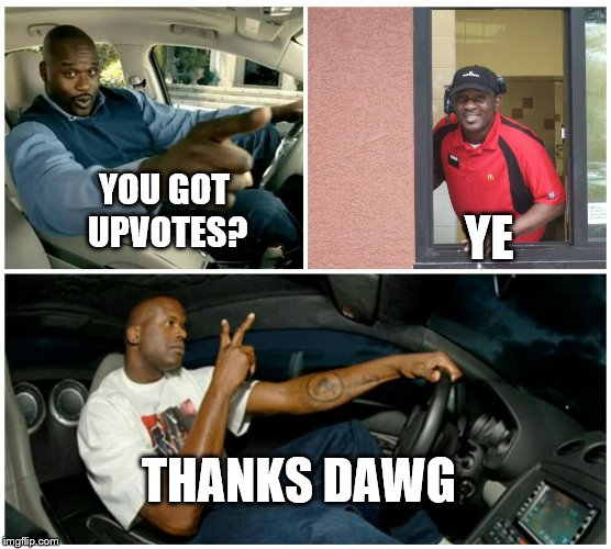 Understandable | YOU GOT UPVOTES? YE THANKS DAWG | image tagged in understandable | made w/ Imgflip meme maker