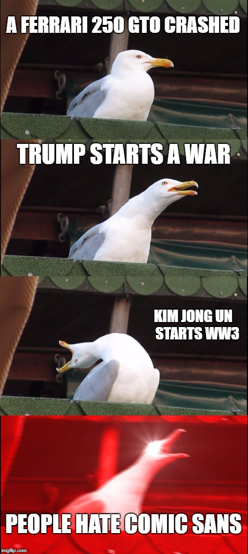 Even A Seagull Knows To Cherish Comic Sans, What About You? | A FERRARI 250 GTO CRASHED TRUMP STARTS A WAR KIM JONG UN   STARTS WW3 PEOPLE HATE COMIC SANS | image tagged in memes,inhaling seagull,political meme,news,comic sans,i love comic sans | made w/ Imgflip meme maker