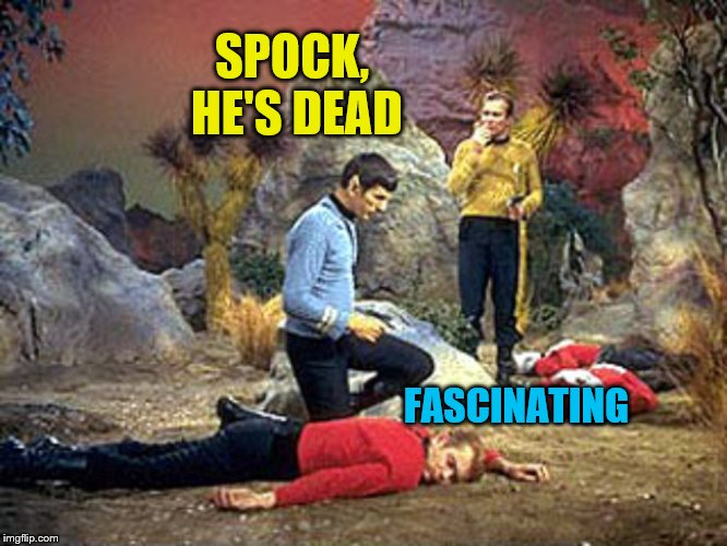 red shirt, dead shirt | FASCINATING SPOCK, HE'S DEAD | image tagged in red shirt,dead shirt | made w/ Imgflip meme maker