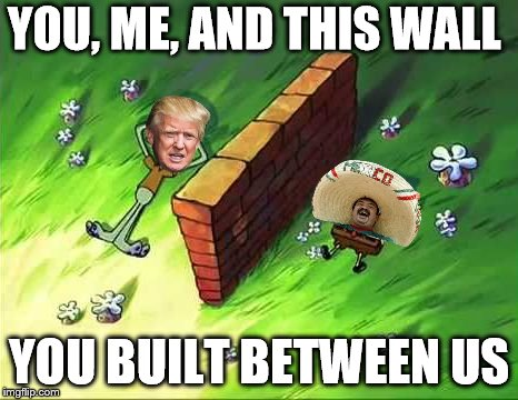You, me, and this wall you built between us | YOU, ME, AND THIS WALL YOU BUILT BETWEEN US | image tagged in this wall you built between us,trump,trump wall,wall,memes,funny | made w/ Imgflip meme maker