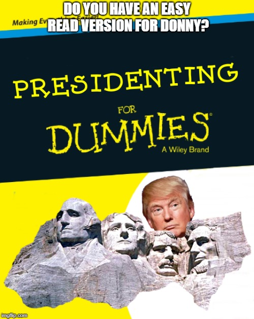 Presidenting for Dummies (Donald Edition) |  DO YOU HAVE AN EASY READ VERSION FOR DONNY? | image tagged in dump trump,for dummies,donald trump,trump,president trump | made w/ Imgflip meme maker
